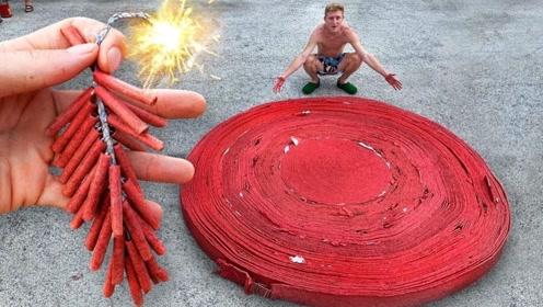 上万个爆竹堆在一起,点燃之后会是怎样的场面?网友:太闪了