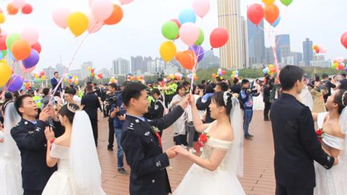 武汉公安举行第三次集体婚礼 写两届新闻稿的民警:终于到我了