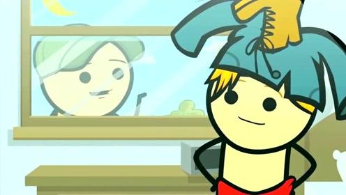 创意搞笑简笔动画,男子的巨婴生活,隔绝了窗外的一切