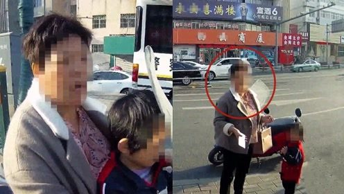 """实拍:安徽女子带娃逆行被拦 孩子面前撒泼辱骂交警""""你去死吧"""""""