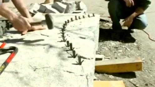 高手敲钉子切割大理石,那些弧度都是这样敲出来的吧!