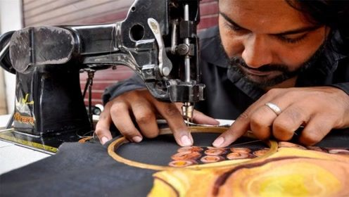 靠缝纫机也能成为艺术家 他的画让世人惊艳