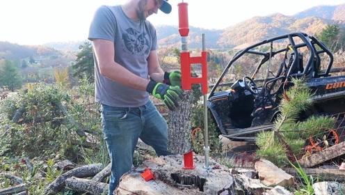 """农村小哥发明""""劈柴""""神器,一天能劈10吨木头,30元造一把"""