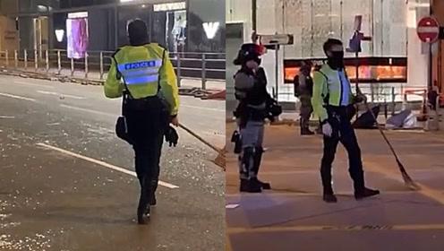 暴徒白天堵路破坏,警察夜间扫街清理 市民:为什么会变成这样?