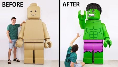 技术宅用纸板做出乐高人,喷上漆后成功成了绿巨人