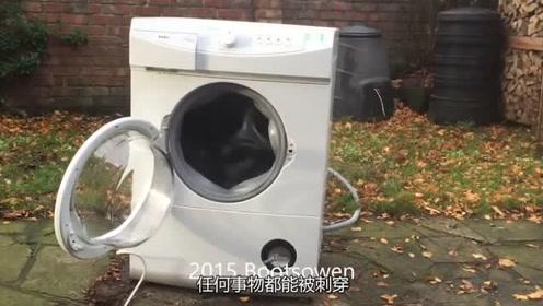 小哥用洗衣机洗砖头,到底是砖头被洗碎了,还是洗衣机被拆掉了呢