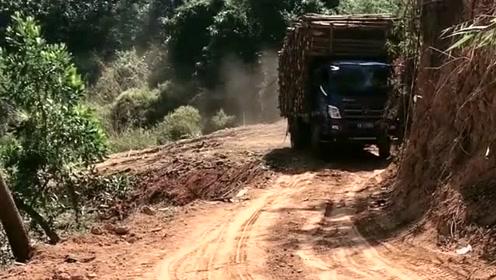 进山拉木材,山路复杂,对车的要求很高
