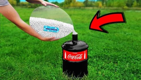 1000颗曼妥思与可乐接触后,气球会有什么反应?场面太硬核了!