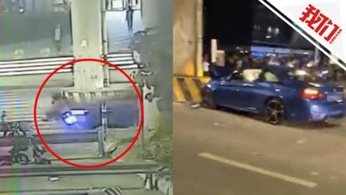 佛山一辆3人共乘摩托被轿车撞飞 警方:1人死亡 司机已被控制