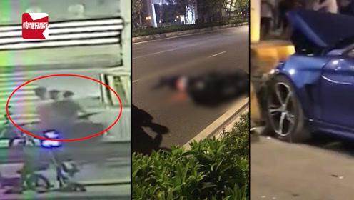 太可怕!3人同乘摩托车横穿马路,瞬间被疾驰宝马撞飞