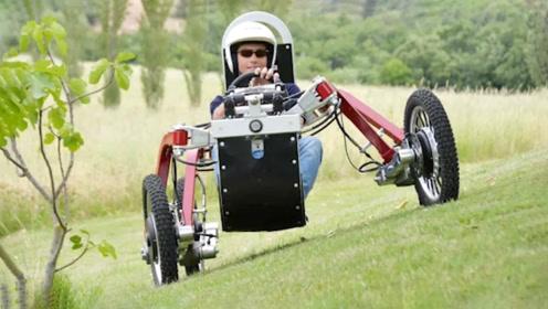 大叔发明出一种全地形越野车,跑起来像蜘蛛,上山下坡如履平地