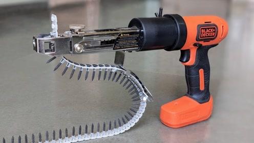 五大神奇的电钻附件,要数那个钉子附件最强,使用起来就跟打枪似的