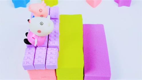 创意手工DIY:用七彩太空沙做个彩虹楼梯,很解压!