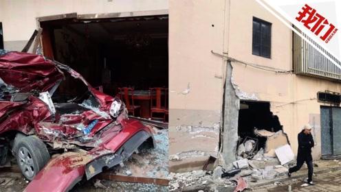 安徽一货车连撞多车冲破酒店外墙致1人身亡 一路擦着火花