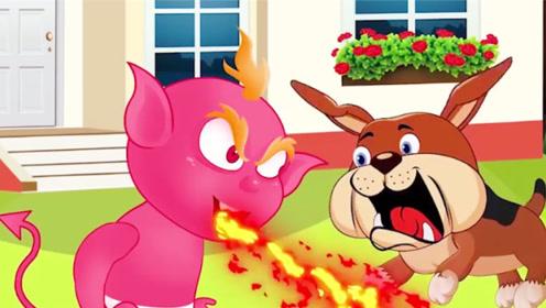 """宝宝玩游戏输了,生气变成""""喷火娃"""",把小狗吓坏了!"""