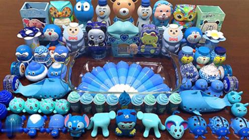 蓝色起泡胶+裱花袋泥+小熊饰品+卡通盒子饰品,创意史莱姆教程