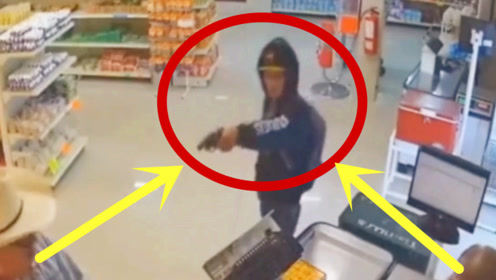 蠢贼进店抢劫,当大爷摘下眼镜的瞬间,才是霸气的开始!