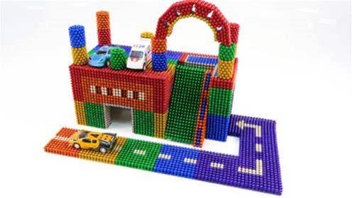 创意巴克球教程,彩虹磁性巴克球拼装小汽车停车场