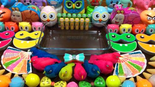 DIY史莱姆教程,猫头鹰彩泥+彩虹米粒泥+菠萝果冻泥,好玩解压效果超棒