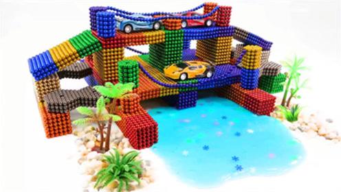 创意巴克球教程,磁性巴克球制作双层彩虹桥,停车场