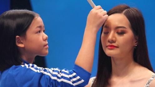 这个00后不简单,年仅12岁的她,却已经成为了超模化妆师