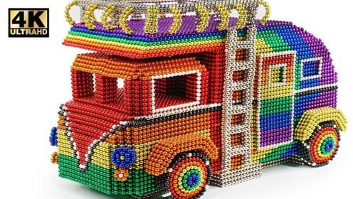 趣味手工制作:磁力珠做露营车