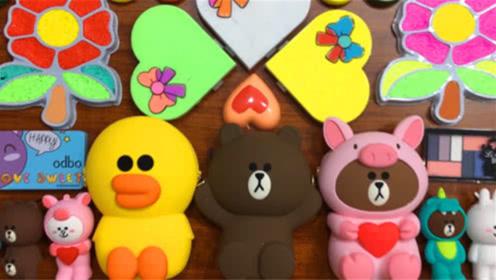DIY史莱姆教程,惬意的小熊泥,遇见小黄鸭、爱心、花朵彩泥