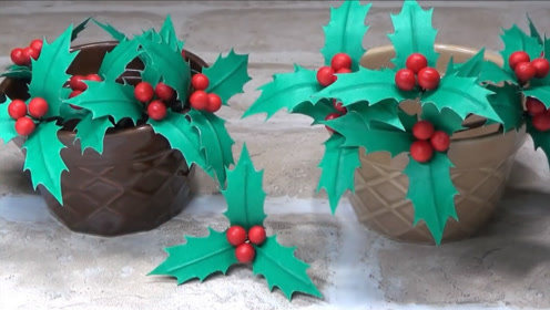 圣诞装饰手工,绿叶果实的制作方法!