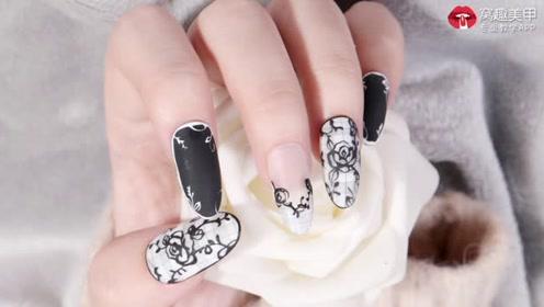 水彩黑白 格纹蔷薇
