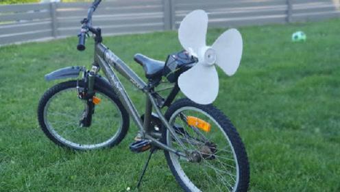 """35岁大叔发明""""气动自行车"""",200元造一台,骑起来省力多了"""
