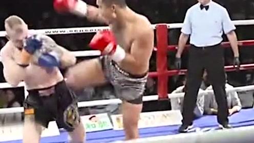 看着太痛快了!中国拳手孙维强第一个回合就直接鞭腿KO对手