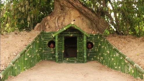 生存小哥因地制宜,在大树下面挖出竹子小屋,哥俩住进去好惬意