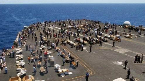 美国尼米兹级航母甲板有多大,相当于3个足球场,900人同时海上露天聚餐