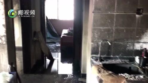 海口帝国大厦16楼着火 火已被扑灭现场一片狼藉