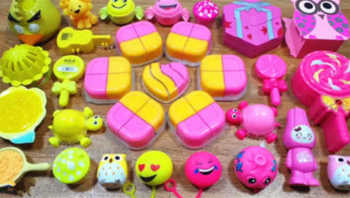 DIY史莱姆教程,粉色和黄色史莱姆材料大混合,效果棒极了