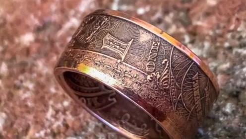 小伙用一角硬币制作戒指,成品出来之后,感觉价值一下翻了好几倍