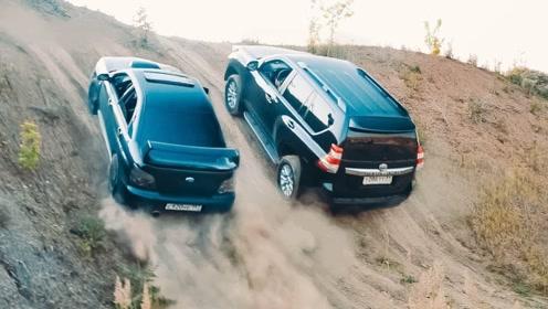 轿车和SUV比爬坡?丰田霸道VS斯巴鲁WRX,起步瞬间差距明显