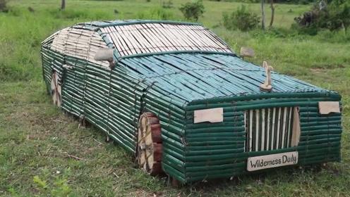 农村小伙用竹子制造劳斯莱斯,成品出来的瞬间,网友:这技术绝了!