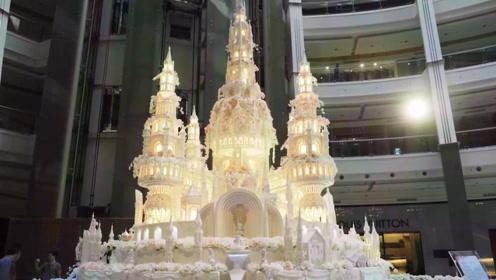 印尼最大最隆重的结婚蛋糕,女孩看了都很羡慕,恐怕几年都吃不完
