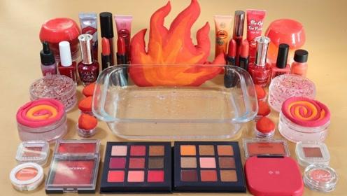 用火红色化妆品、闪粉亮片给透泰染色,无硼砂,得到超漂亮的泥巴
