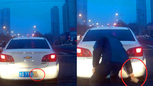 实拍:北京一司机路遇前车遮挡号牌 等红灯时下车一把扯掉遮挡物