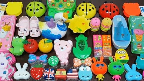 DIY瓢虫饰品、小拖鞋、小鸭子、小熊等材料,自制无硼砂史莱姆