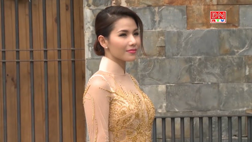 越南户外秀场,一身金线缝制的礼裙,尽显雍容华贵!
