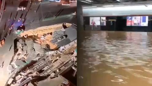 厦门发生地陷行驶中车辆突然掉落 地铁站被淹列车在泥水中行驶