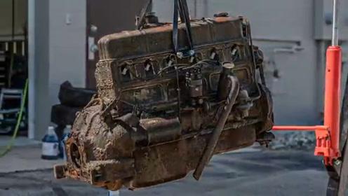 几十年前全身锈迹的雪佛兰发动机翻新过程,大师级修复水平!