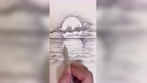 大师画的夕阳图,真是太漂亮了!