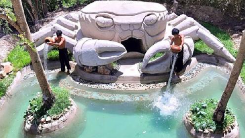 两小伙回农村,自建豪华的螃蟹泳池,看完佩服不已!
