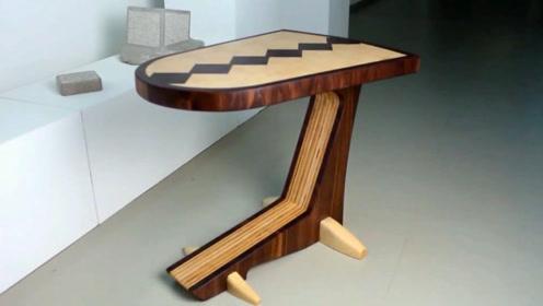 木工爱好者分享桌子的做法,亮点是这个造型,简直太漂亮了