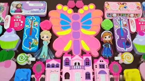 蝴蝶、艾莎公主、小提琴、城堡等材料,自制无硼砂史莱姆