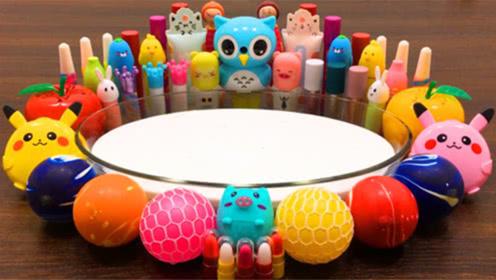 DIY史莱姆教程,解压球+比卡丘彩泥+口红指甲油+亮彩粉